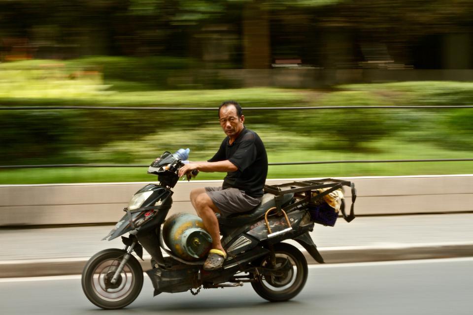 guy, man, motorcycle, riding, road, gas, tank, trees, grass, way, old, black