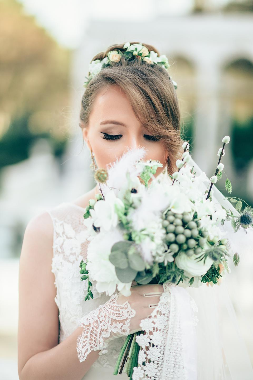 people, woman, girl, bride, wedding, dress, white, gown, makeup, beauty, flower, bouquet