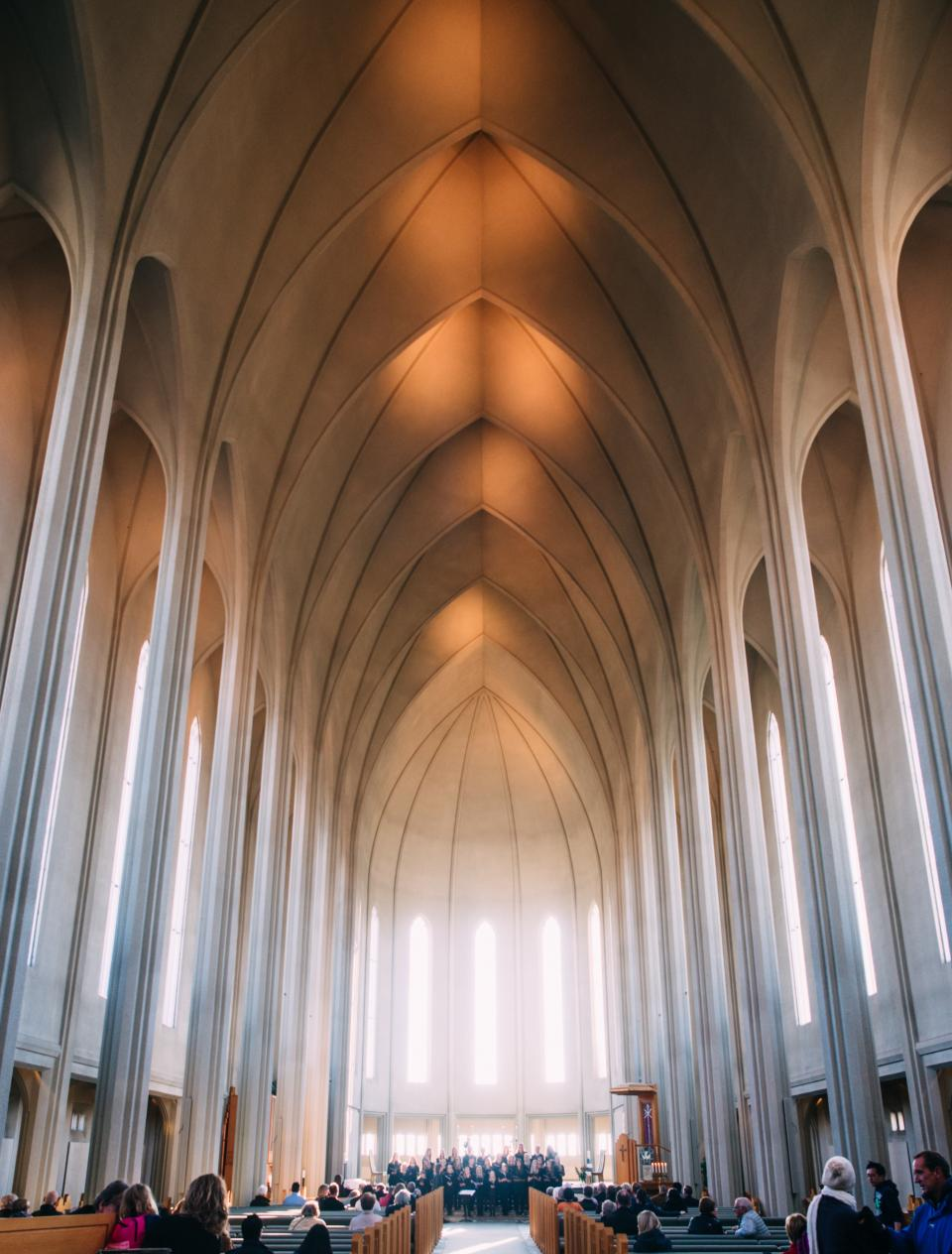 church, ceiling, arches, windows, choir, priest, sermon, benches, cross, holy, christian, catholic, religion