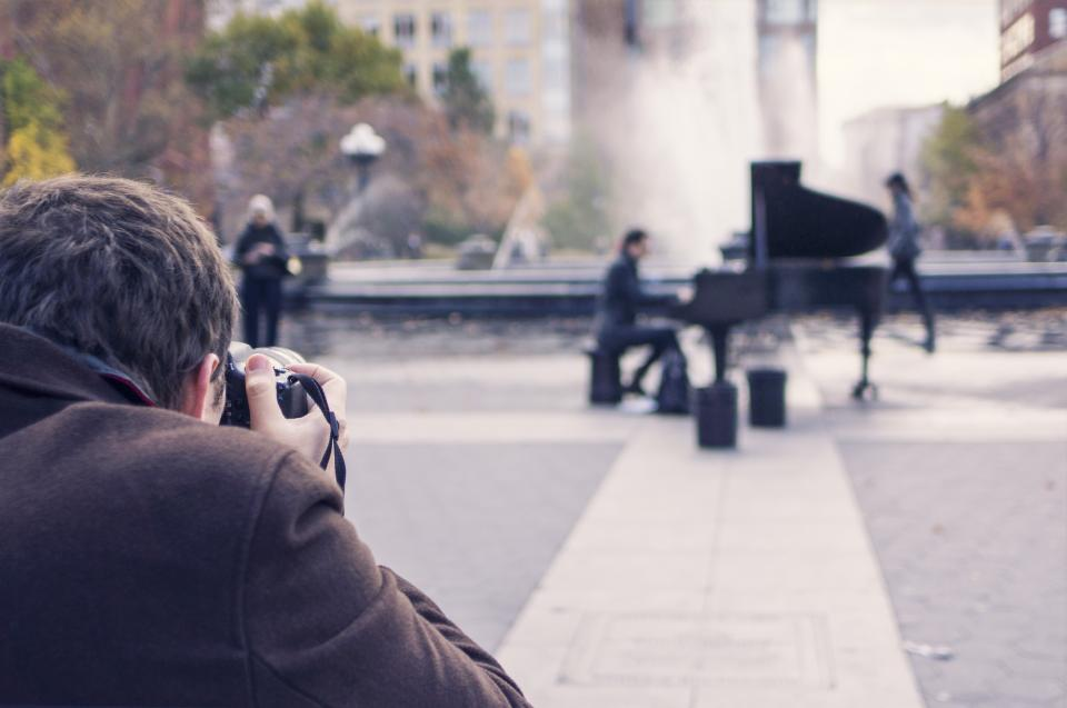 piano instrument music photographer art picture man street
