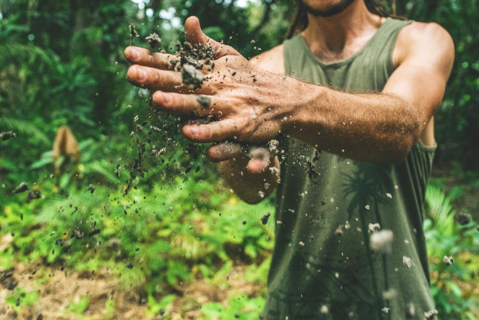 soil dirty hand people man guy outdoor green grass plants nature