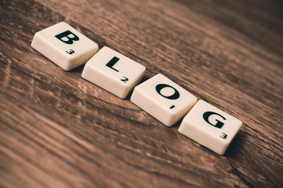blog blogging business web internet scrabble wood