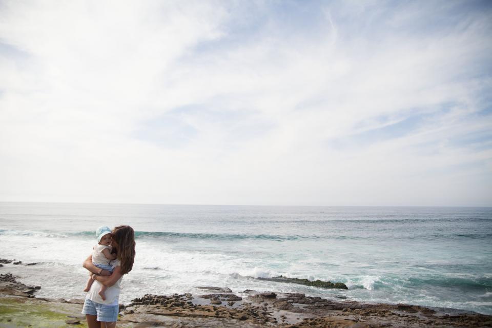 people, woman, family, mother, beach, ocean, sea, love, kiss, cute, baby, kid, waves, clouds, sky
