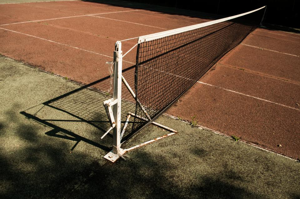 tennis court, net, clay, sports