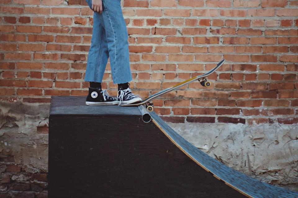 wall, people, legs, shoes, sport, play, skateboard, skateboarding, steel, wood, slide