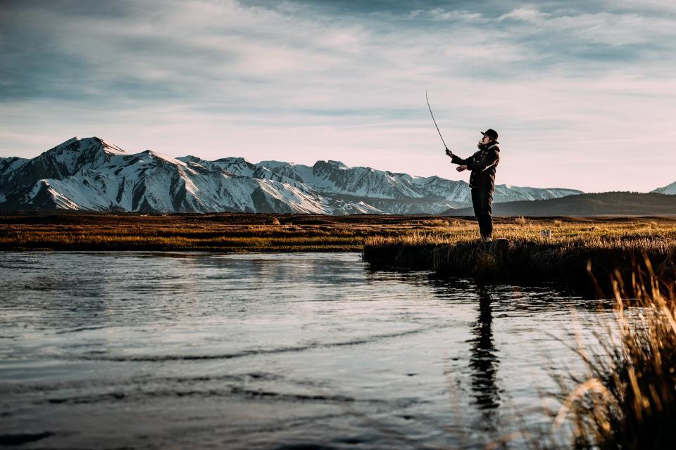 nature, water, lake, mountains, snow, fishing, sky, clouds, people, man, guy