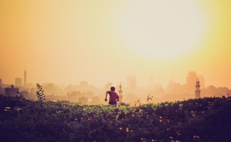 黄色い空太陽の男の子、芝生、フィールド、建物、都市