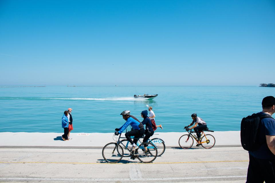 bicycle, sport, health, fitness, exercise, sea, ocean, water, clouds, sky, people, group