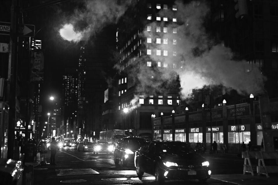 architecture building infrastructure car vehicle transportation street road city urban black and white night lights smoke fire