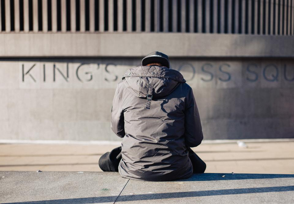 people, man, sad, sitting, alone, street, sunny, day, wall