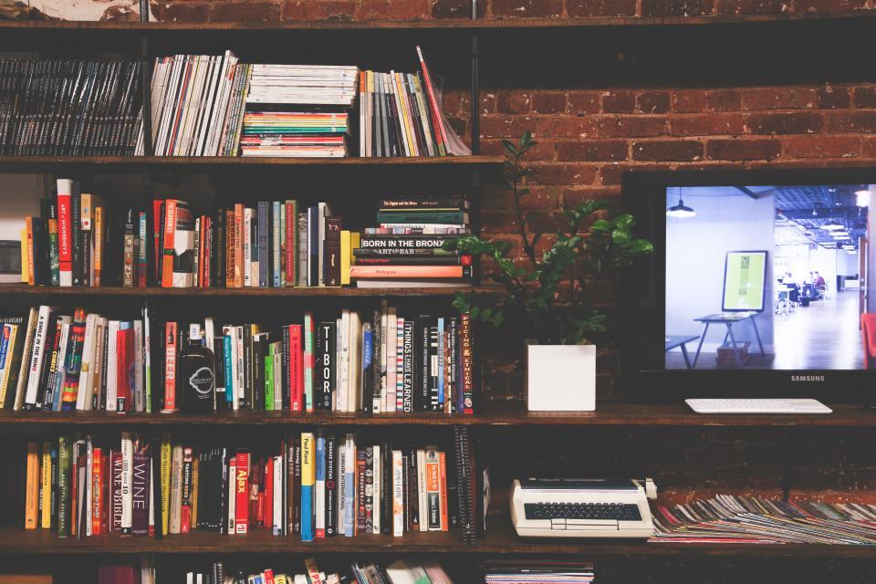 books bookshelf magazines reading office brick monitor screen tv