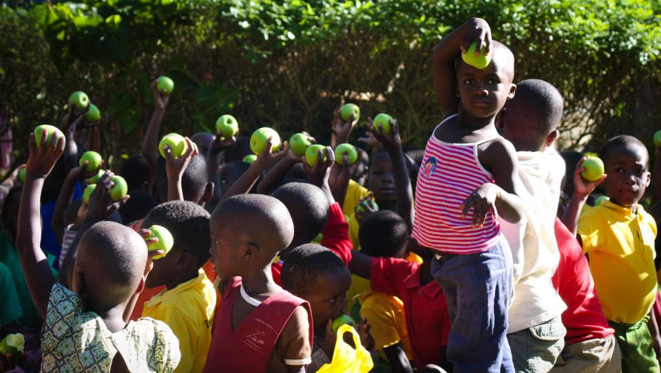 green apple fruit food eat kids children africa