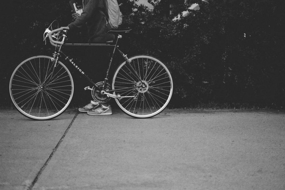 bike, bicycle, street, road, people, man, shoes, plant, black and white