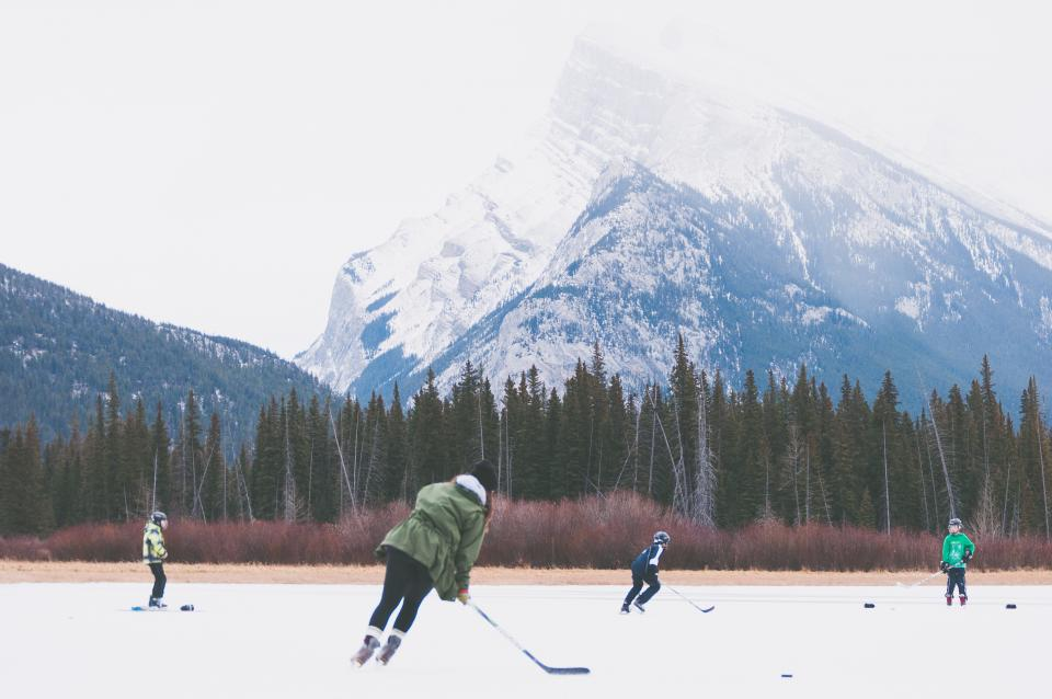 hockey, ice, rink, skates, skating, sports, people, team, outdoors, nature, mountain, snow, winter, cold, trees, woods