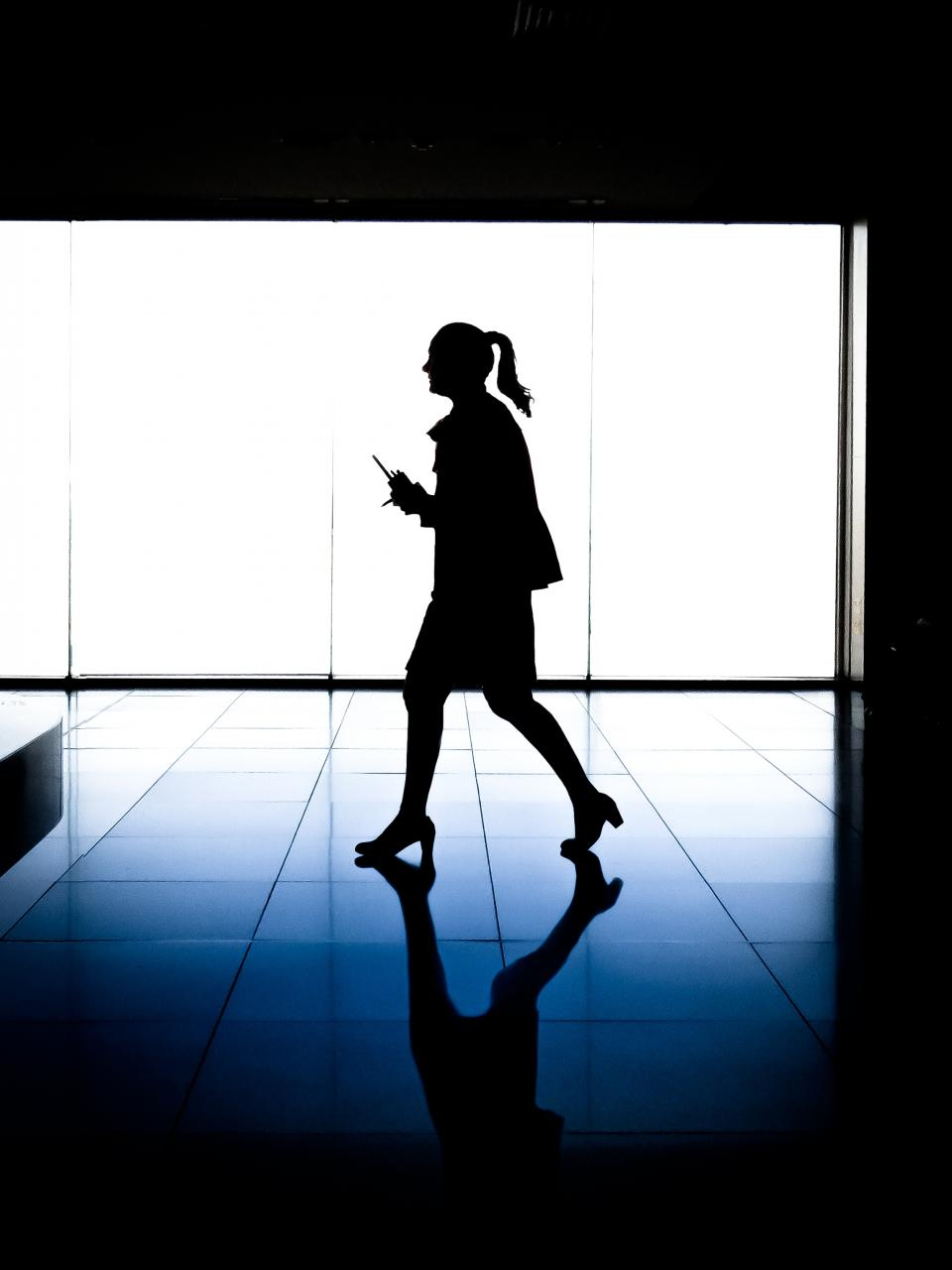 dark, silhouette, lights, floor, reflection, people, woman, girl, female, business, office