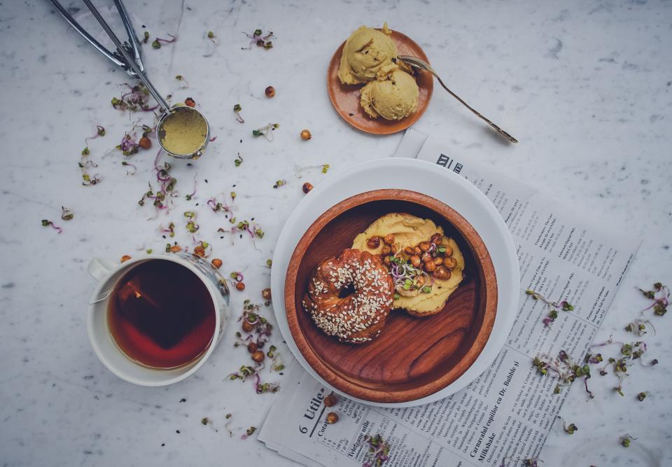 doughnut bread food snack herbal tea cup ice cream dessert sweets table restaurant