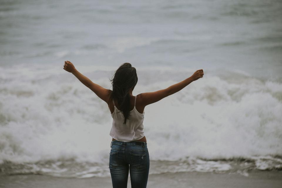 people woman happy enjoy freedom water ocean sea beach waves