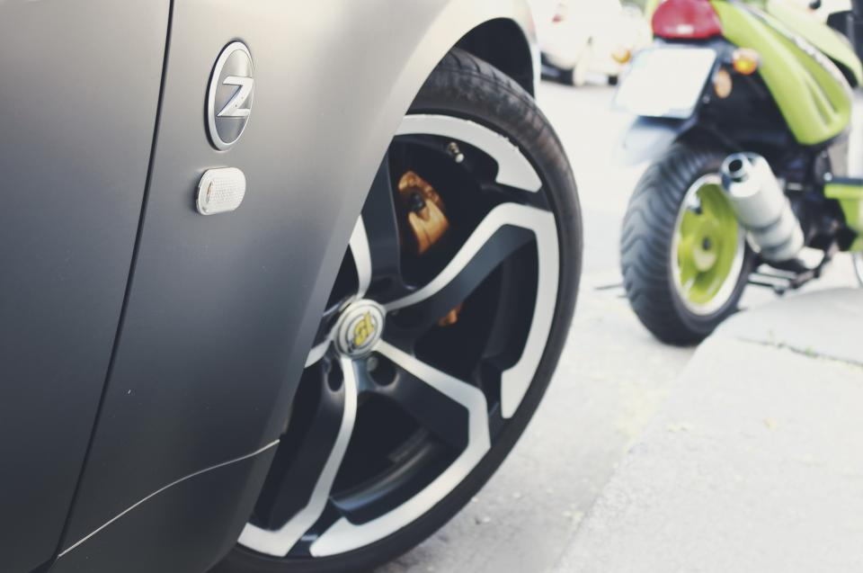 wheels, rims, car, fast, nissan, 370z, 350z, motorcycle, motorbike, street, road, pavement, automotive