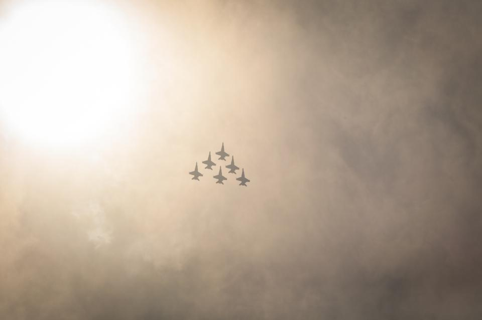 sky, clouds, sun, airplanes, jets, fighters, airforce
