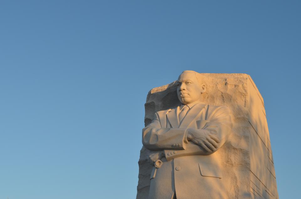 blue, sky, man, statue, sculpture, art, design
