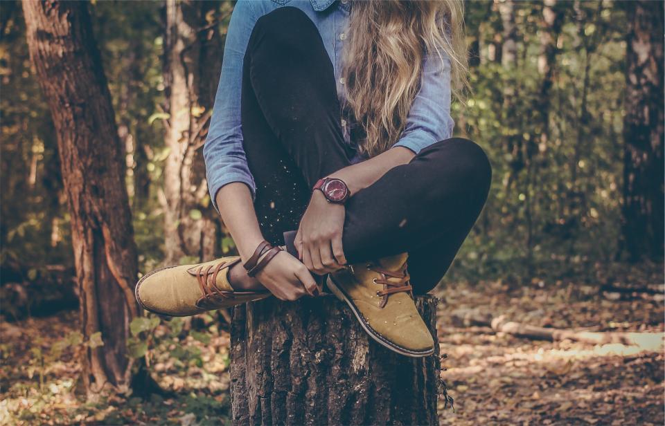 girl woman blonde long hair clothes fashion shoes pants denim shirt watch tree stump forest model