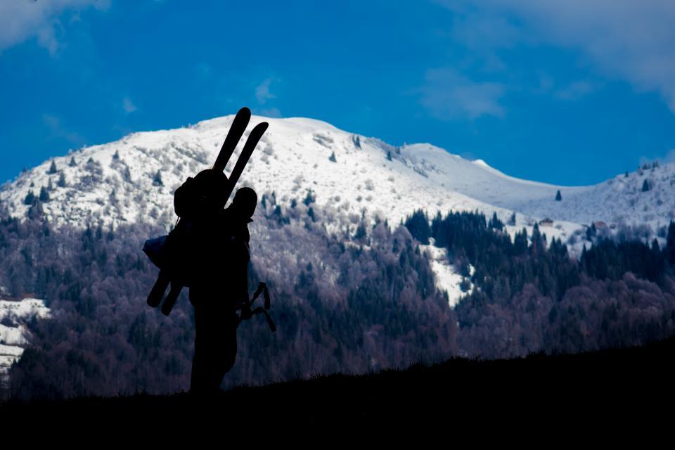 山の風景自然の木雪冬寒い青空人の男スキースキーヤー
