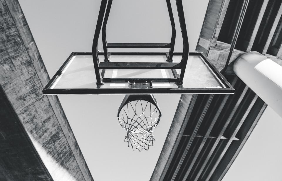 architecture, sky, basketball, ring, sport, adventure, outdoor, black and white