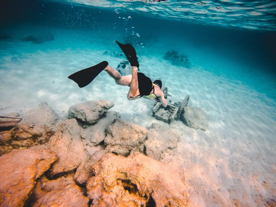 sea, ocean, blue, water, nature, rock, underwater, people, man, swimming, scuba, diving