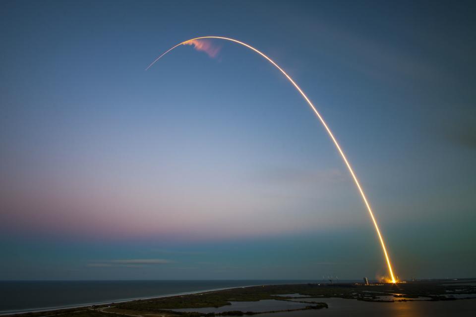 rockets rocket ship space shuttle sunset dusk sky lights