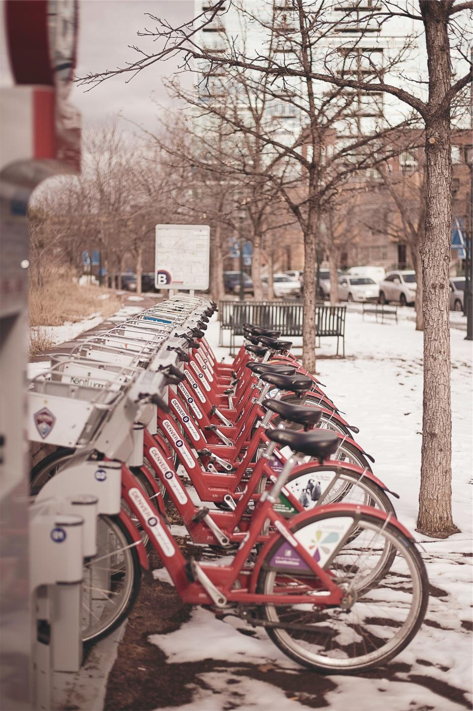 bikes, bicycles, Denver, city, winter, snow