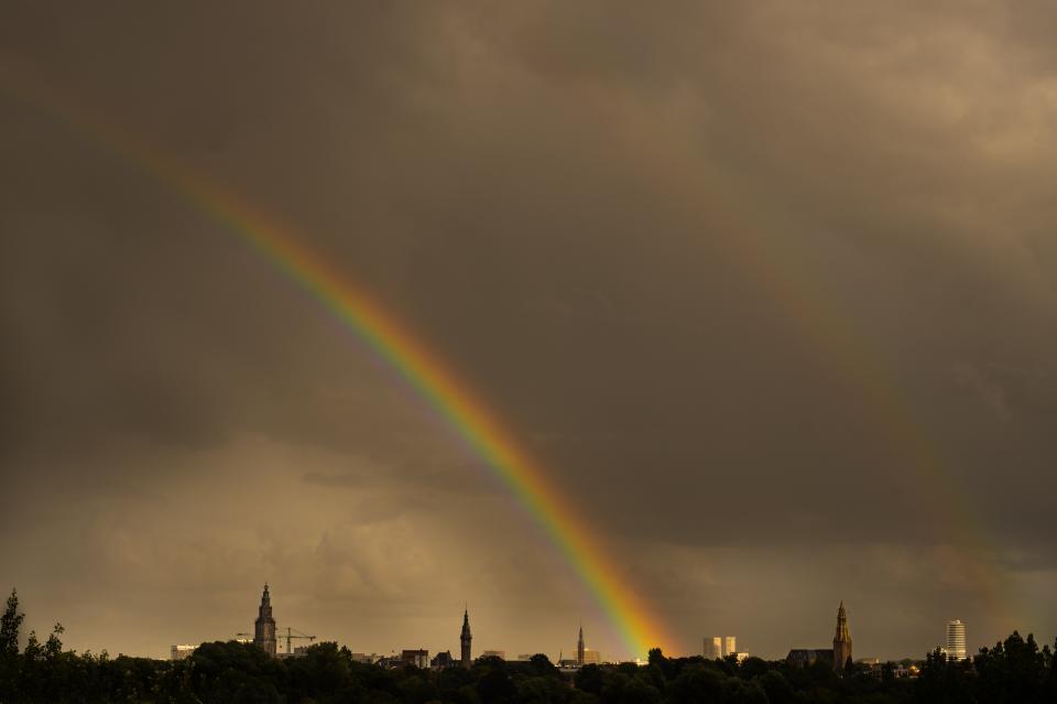 rainbow, sky, clouds, dark, storm, skyline, grey