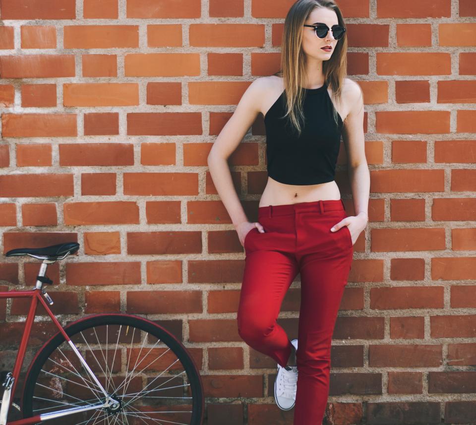 people girl woman sexy fashion clothing model brickwork wall bricks bike bicycle