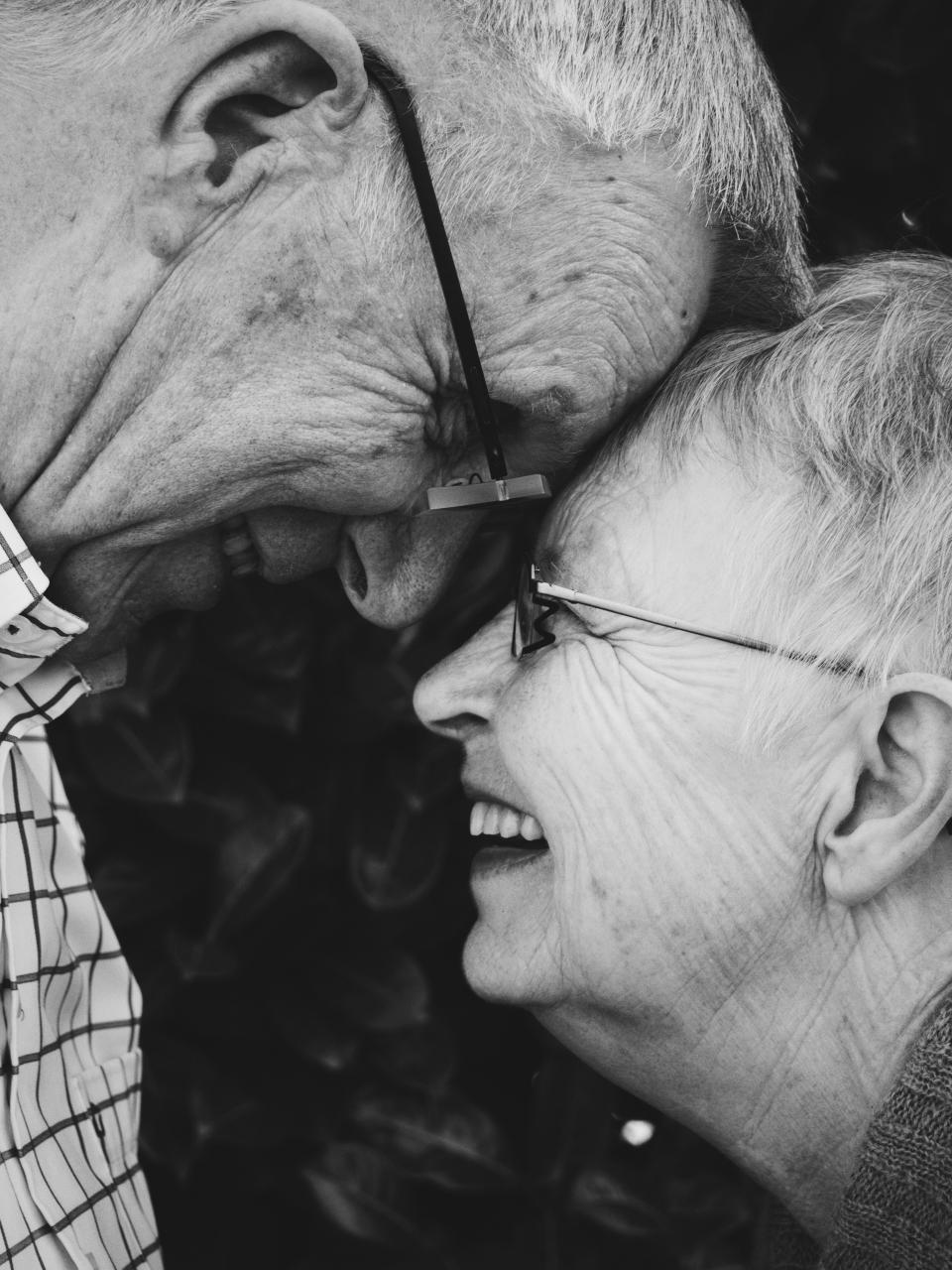 People old man woman couple love laugh happy black and white