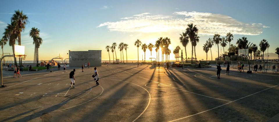 basketball, sport, game, people, men, playing, trees, plant, court, clouds, sky, nature, sunset, sunrise