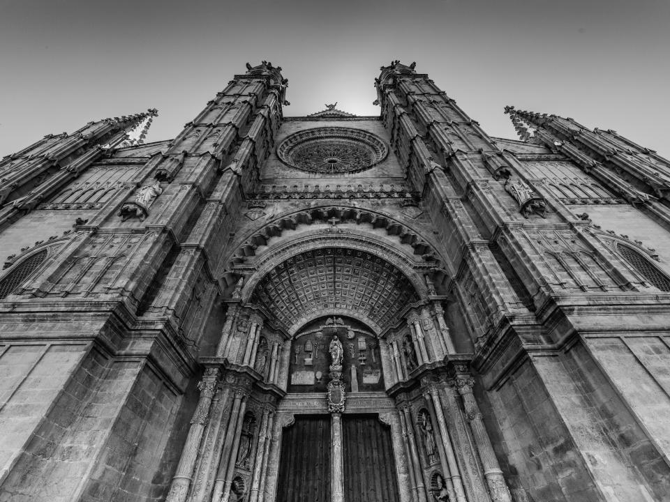 architecture, building, structure, establishment, windows, black and white, monochrome, church, religion, devotion