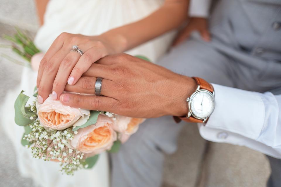 wedding, couple, man, woman, people, love, flower, bouquet, ring, watch, holding hands