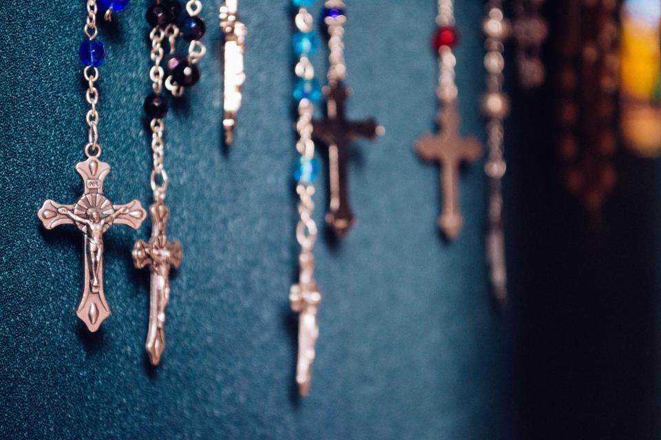 wall, rosary, prayer, cross, catholic, faith, salvation, mystery