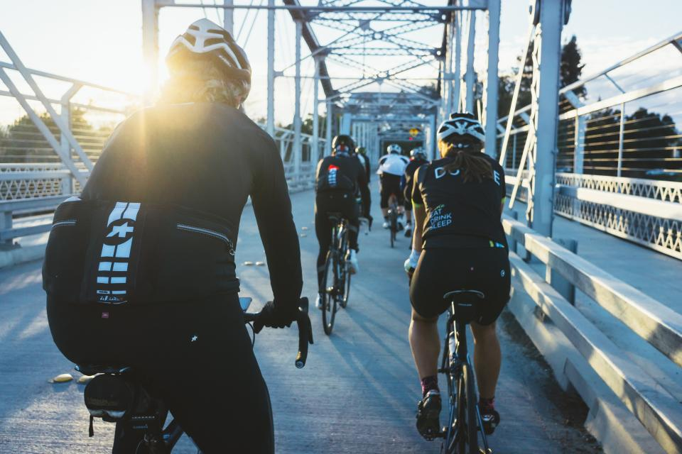people, man, woman, bike, bicycle, bikers, cyclist, travel, bridge, road, sport, fitness, exercise, health, sunny, day, sunrise