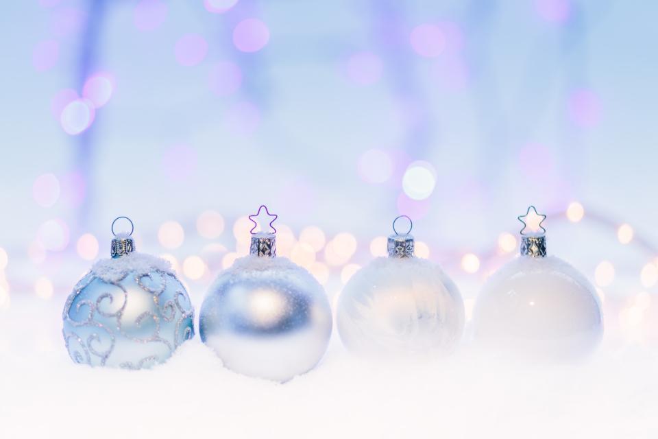 white christmas light bulb ball decoration bokeh