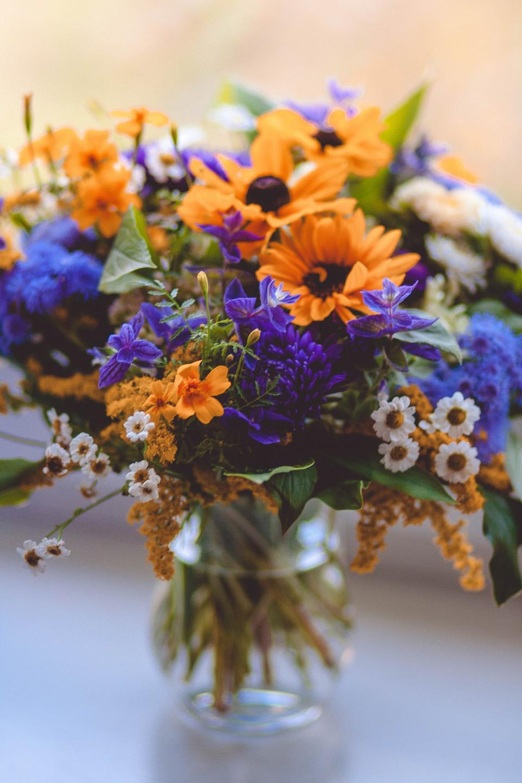 flowers, nature, blossoms, leaves, petals, bouquet, vase, decor, interior, white, yellow, purple