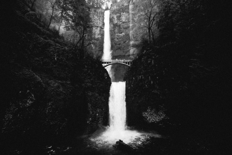 nature, water, waterfalls, trees, forest, rocks, black and white, grayscale, bridge, travel