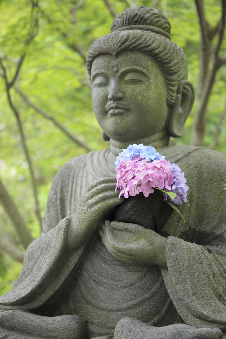 statue, art, design, buddha, flower, pink, blue, violet, autumn, fall, religion