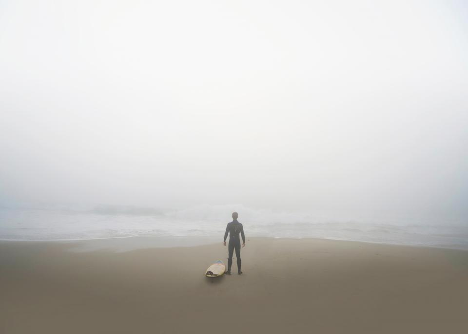 sea, ocean, water, waves, nature, beach, foggy, shore, coast, people, man, alone, surfer, surfing, board, adventure, outdoor, sport
