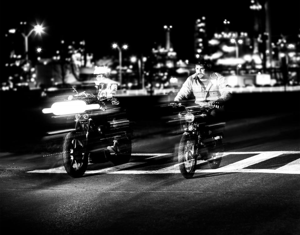 motor, motorcycle, black and white, pedestrian, race, lights, night, city