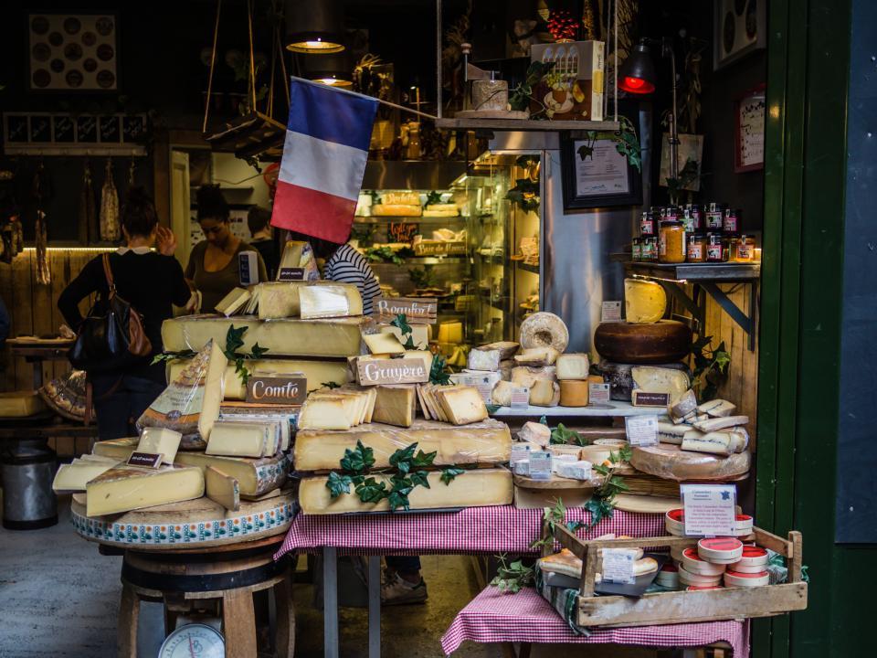 food delicacies display bread store shop flag