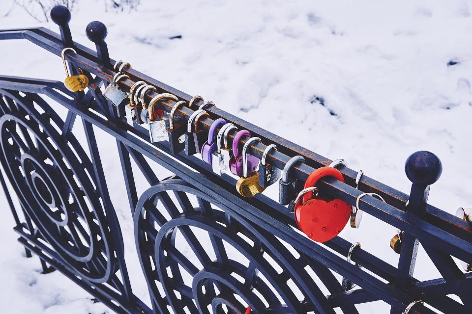 padlocks, locked, railing, snow, winter