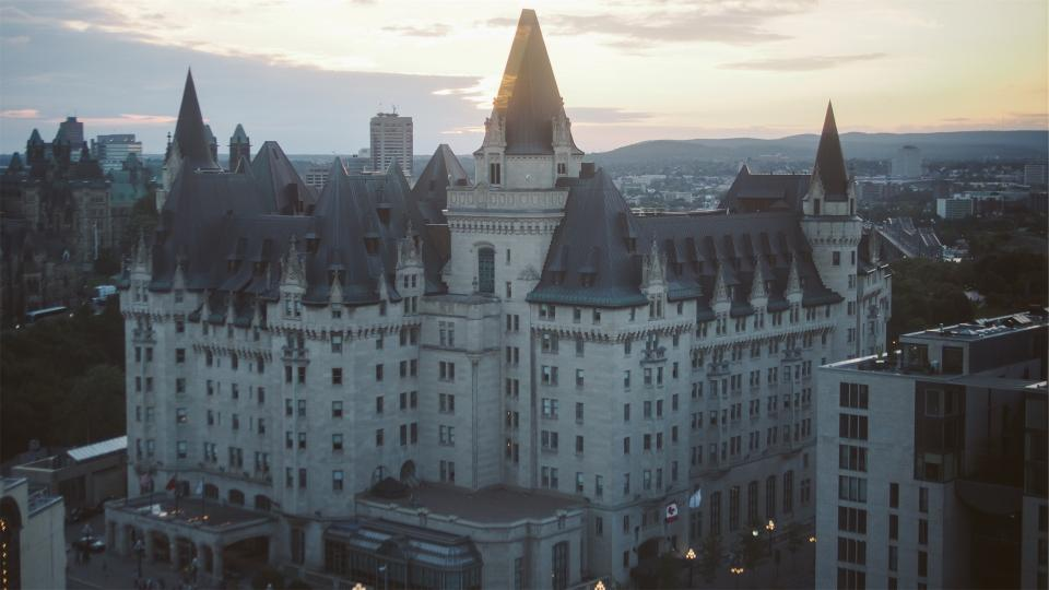 Chateau Laurier, hotel, Ottawa, Ontario, Canada, buildings, architecture, flags, sky, condos, downtown, city