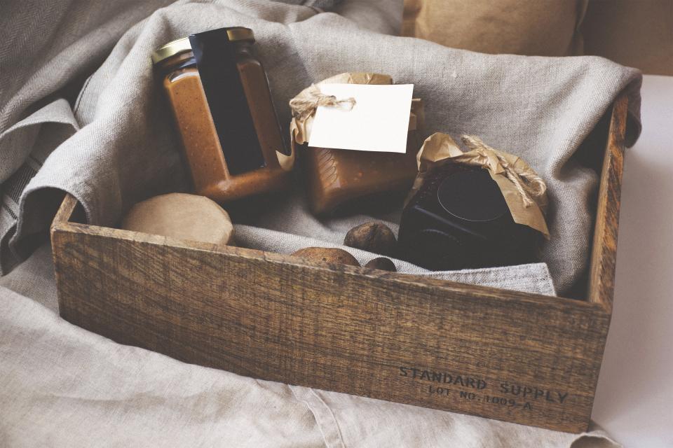 wooden box storage cloth food mockup bottle jar