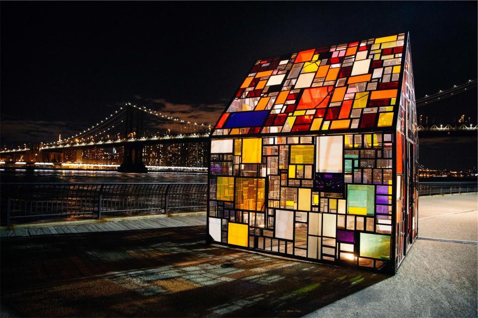 stained glass windows city urban bridge lights night evening New York NYC