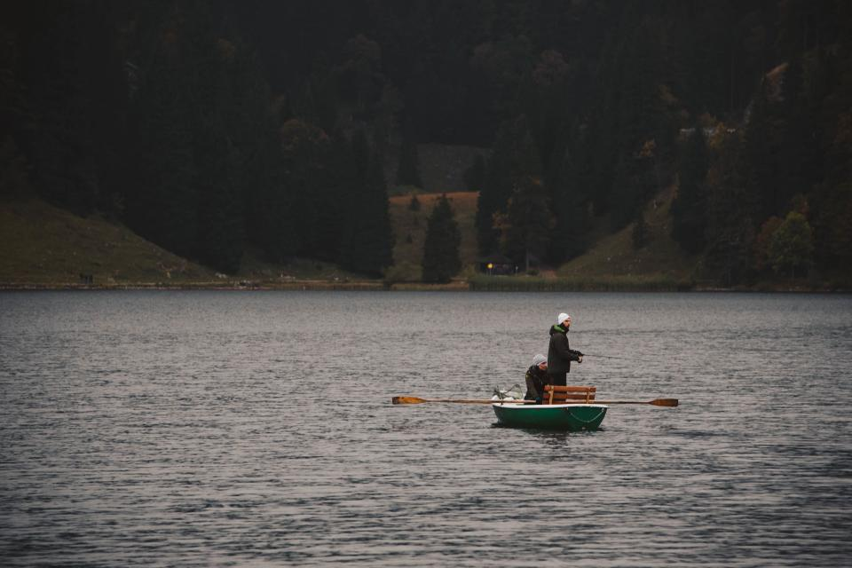 fall, autumn, trees, forest, mountain, nature, dark, coast, lake, water, people, man, woman, paddle, boat, sailing, adventure